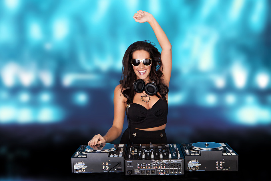 Jubilant sexy female disc jockey
