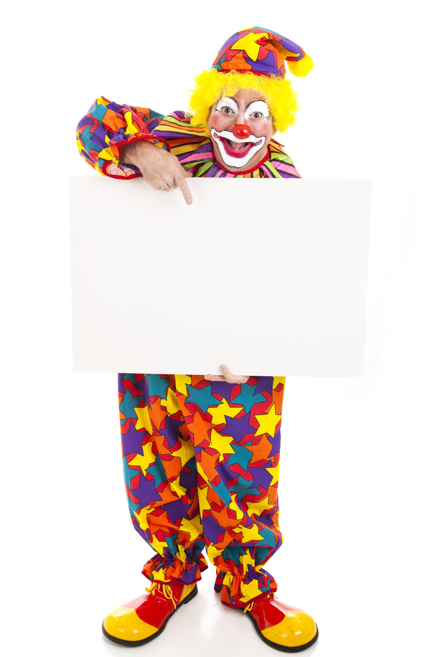 Clown Holding Blank Sign - Full Body